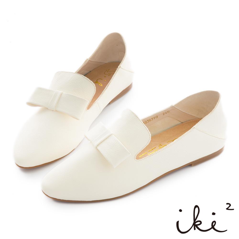 iki2 真皮 質感蝴蝶結樂福鞋-米白