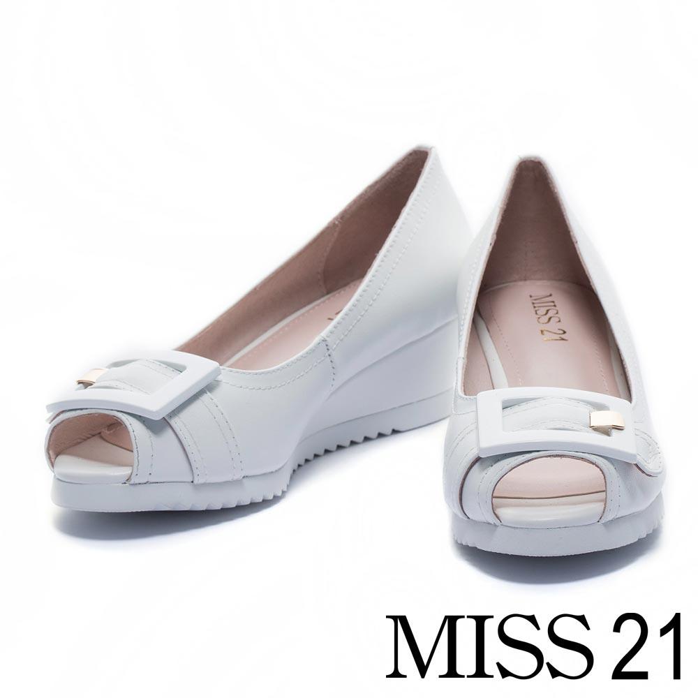 楔型鞋 MISS 21復古知性方釦牛皮魚口楔型鞋-白