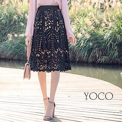 東京著衣-yoco 韓系質感全蕾絲撞色透底A字裙-S.M.L(共一色)