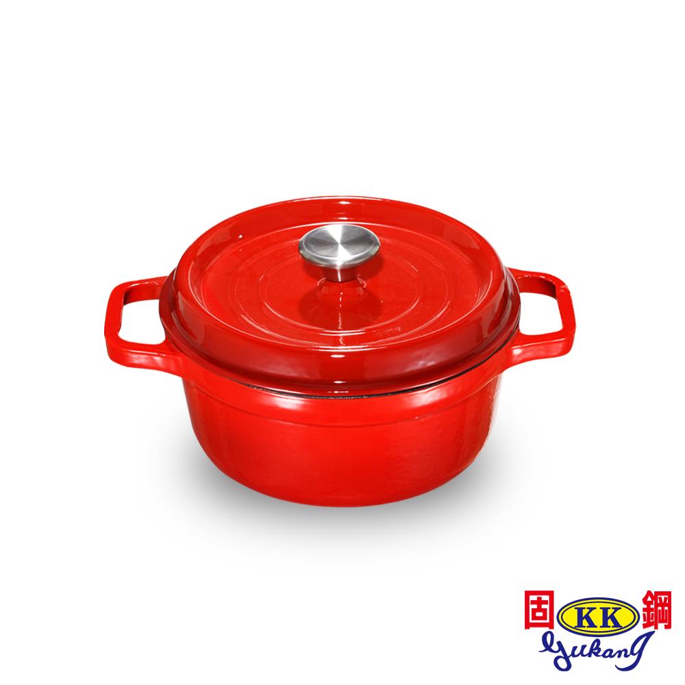 固鋼 晶亮紅-漸層色琺瑯鑄鐵鍋21cm(白色鍋面)