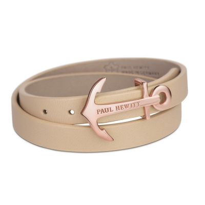 PAUL HEWITT德國出品 NORTH BOUND榛果褐皮革玫瑰金船錨 寬版手環