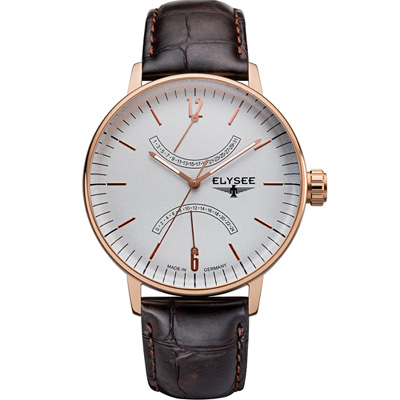 ELYSEE  Classic Sithon 雙逆跳復刻紳士腕錶-玫瑰金色/42mm