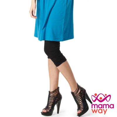 【Mamaway】孕婦抽皺七分貼腿褲 (共四色)