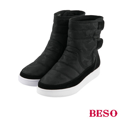 BESO 勁酷率性 鋪棉迷彩吸震防滑靴~黑