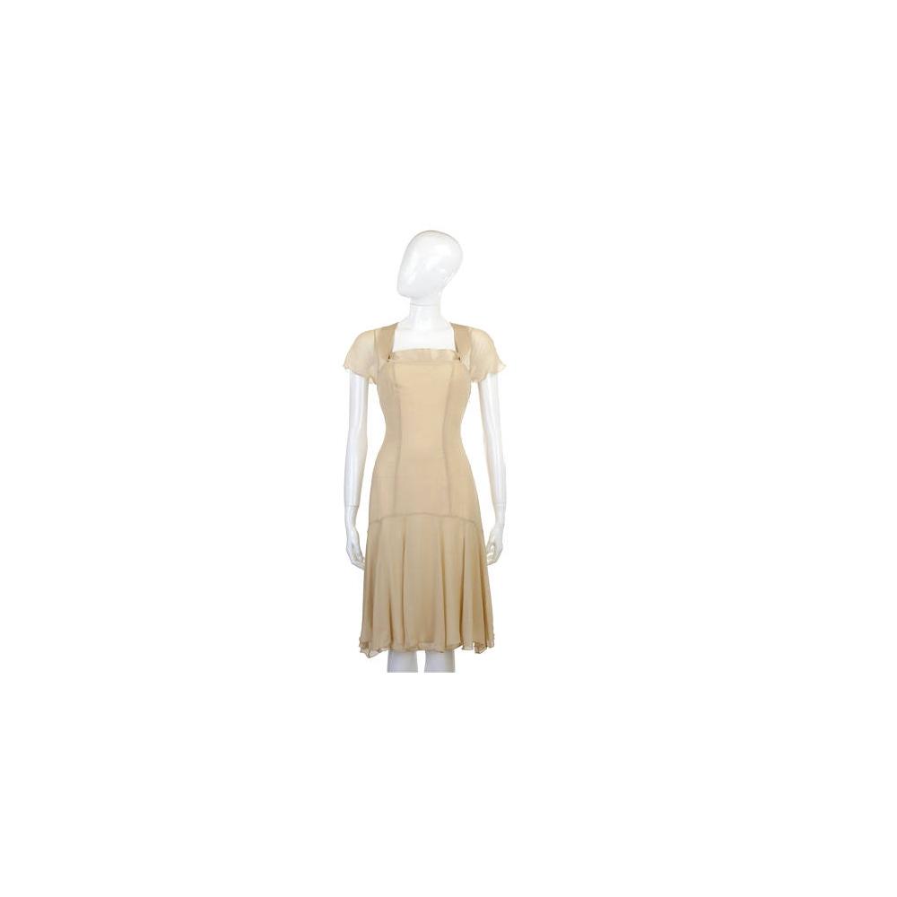 NINA 米黃色紗質拼接短袖洋裝