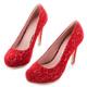 Mori girl 2way可拆式蝴蝶結典雅蕾絲婚鞋 紅 product thumbnail 1