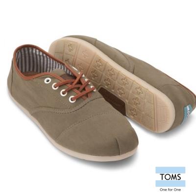 TOMS 皮革滾邊綁帶休閒鞋-男款(綠)