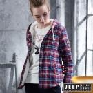 JEEP 女裝 百搭格紋刷毛襯衫式外套 -紅藍