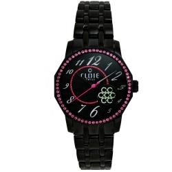 CLOIE 寶石情緣晶鑽腕錶-黑x粉晶鑽框/34mm