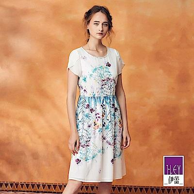 ILEY伊蕾 層次荷葉小蓋袖印花長版洋裝(白)