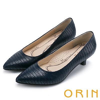 ORIN 典雅輕熟OL 壓紋牛皮素面百搭尖頭跟鞋-深藍
