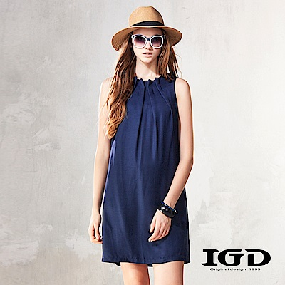 IGD英格麗 極簡活摺無袖連身洋裝-深藍