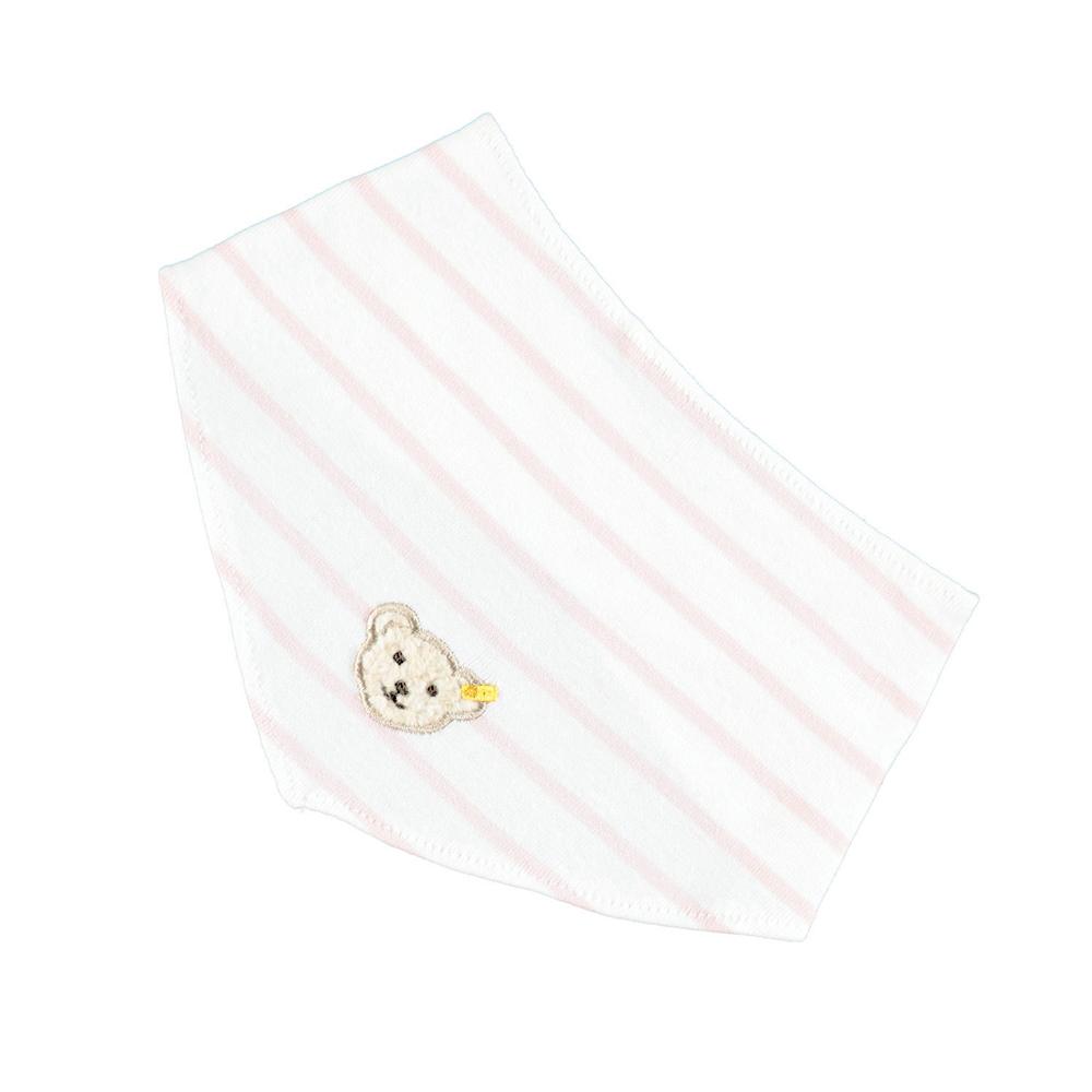 STEIFF德國金耳釦泰迪熊 - 粉紅色 條紋 領巾 (嬰幼兒衛浴系列)