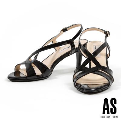 涼鞋 AS 時尚耀眼繫帶牛軟漆皮高跟涼鞋-黑