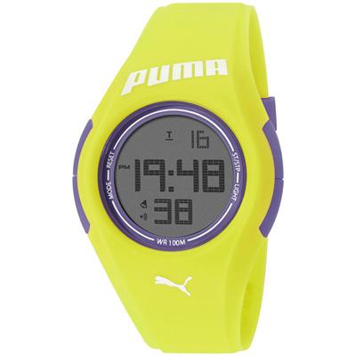 PUMA-撞色風潮電子腕錶-紫x黃色錶帶-44mm