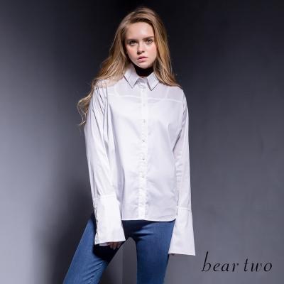 bear-two-宮廷風俐落剪裁喇叭袖造型款襯衫-白色