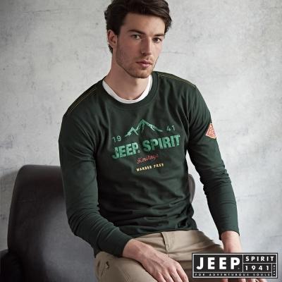 JEEP 經典洗舊文字長袖TEE 合身版-橄欖綠