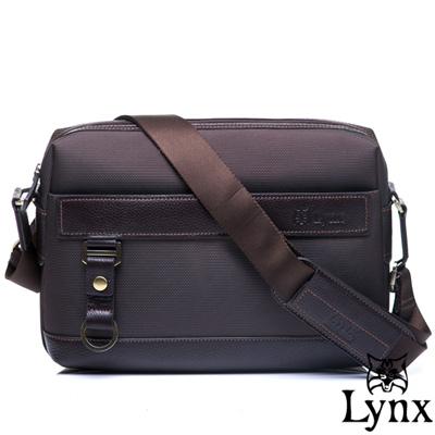 Lynx - 山貓經典極簡風格橫式真皮側背包-小-質感咖