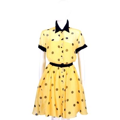 MOSCHINO 黃色紗質圓點短袖洋裝(附綁帶)