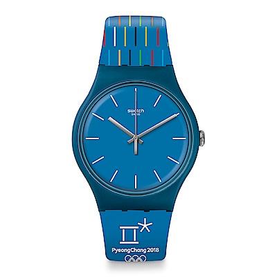 Swatch 原創系列 PETITS BATONS 藍色奧運手錶