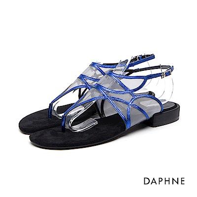 達芙妮DAPHNE 涼鞋-細帶拼接網紗低跟夾腳涼鞋-深藍
