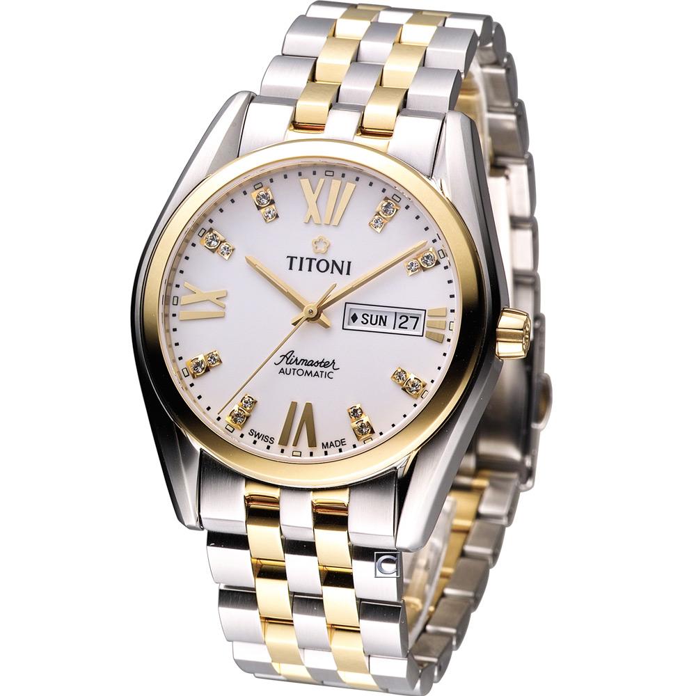 TITONI Airmaster 空霸Day-Date 機械腕錶-白x雙色版/41mm
