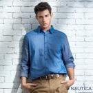 Nautica 拼接造型長袖襯衫-藍