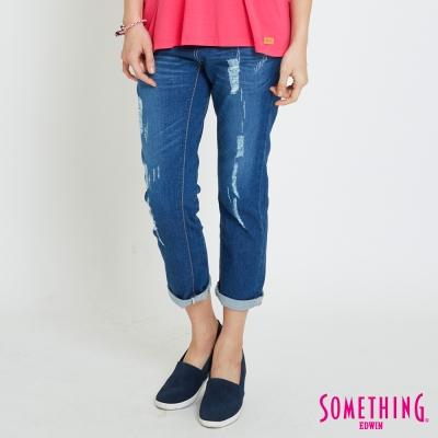 SOMETHING CELEB袋印男友褲-女-拔洗藍