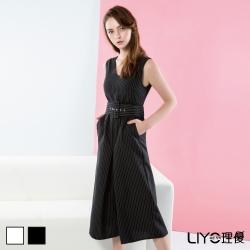 LIYO理優V領條紋連身褲(黑)