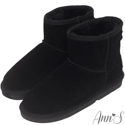 Ann'S溫暖系-真皮素面厚毛短筒雪靴-黑
