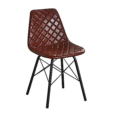 AT HOME-韋恩咖啡菱格皮質鐵藝餐椅(42*45*80cm)
