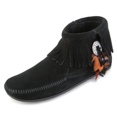 MINNETONKA-FEATHER麂皮流蘇羽毛踝靴-黑色