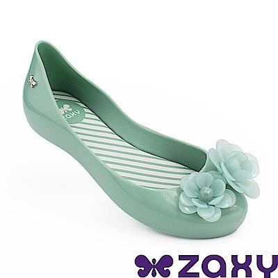 Zaxy 巴西 童花漾朵朵休閒娃娃鞋-湖水綠