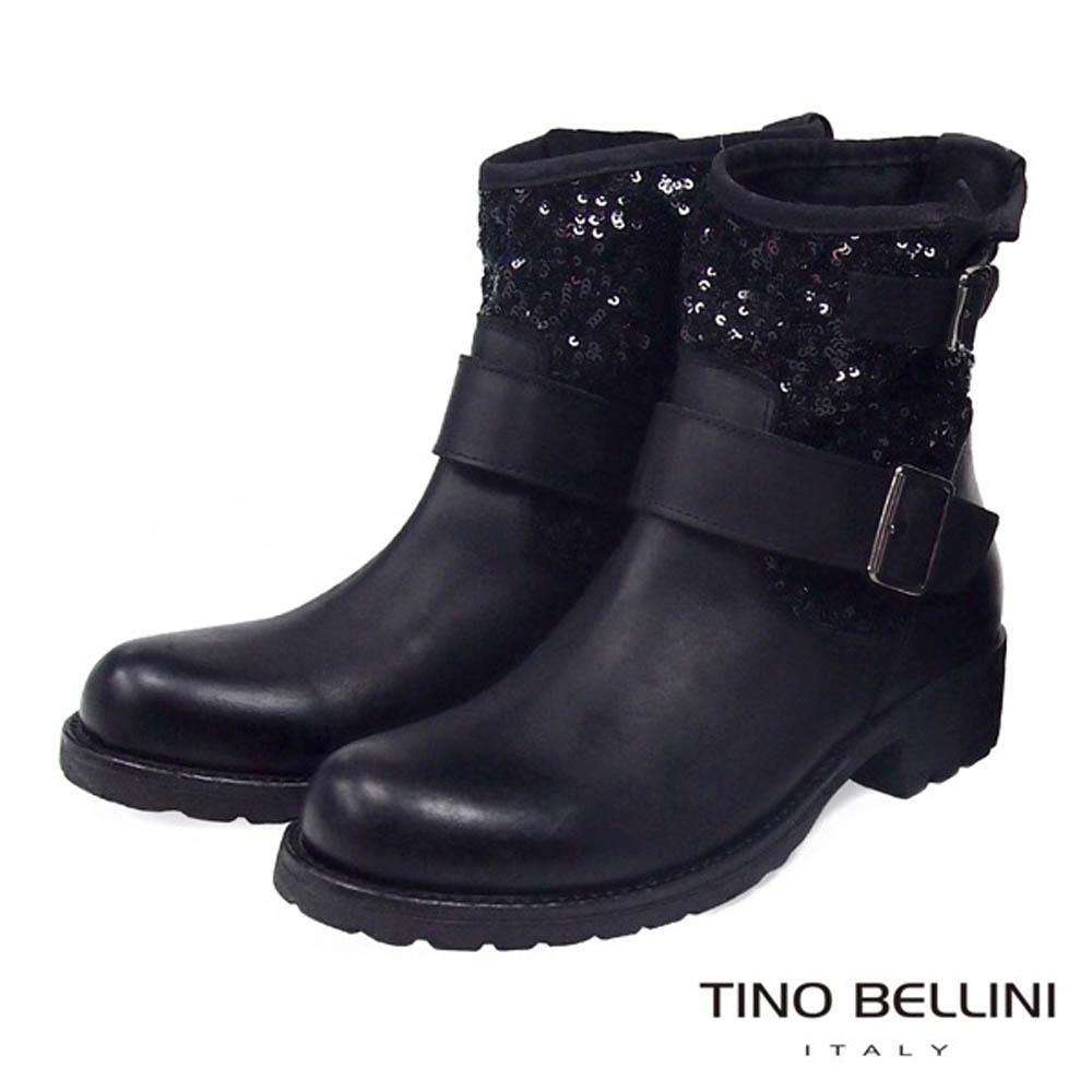 Tino Bellini義大利進口質感真皮拼接亮片工程短靴_黑