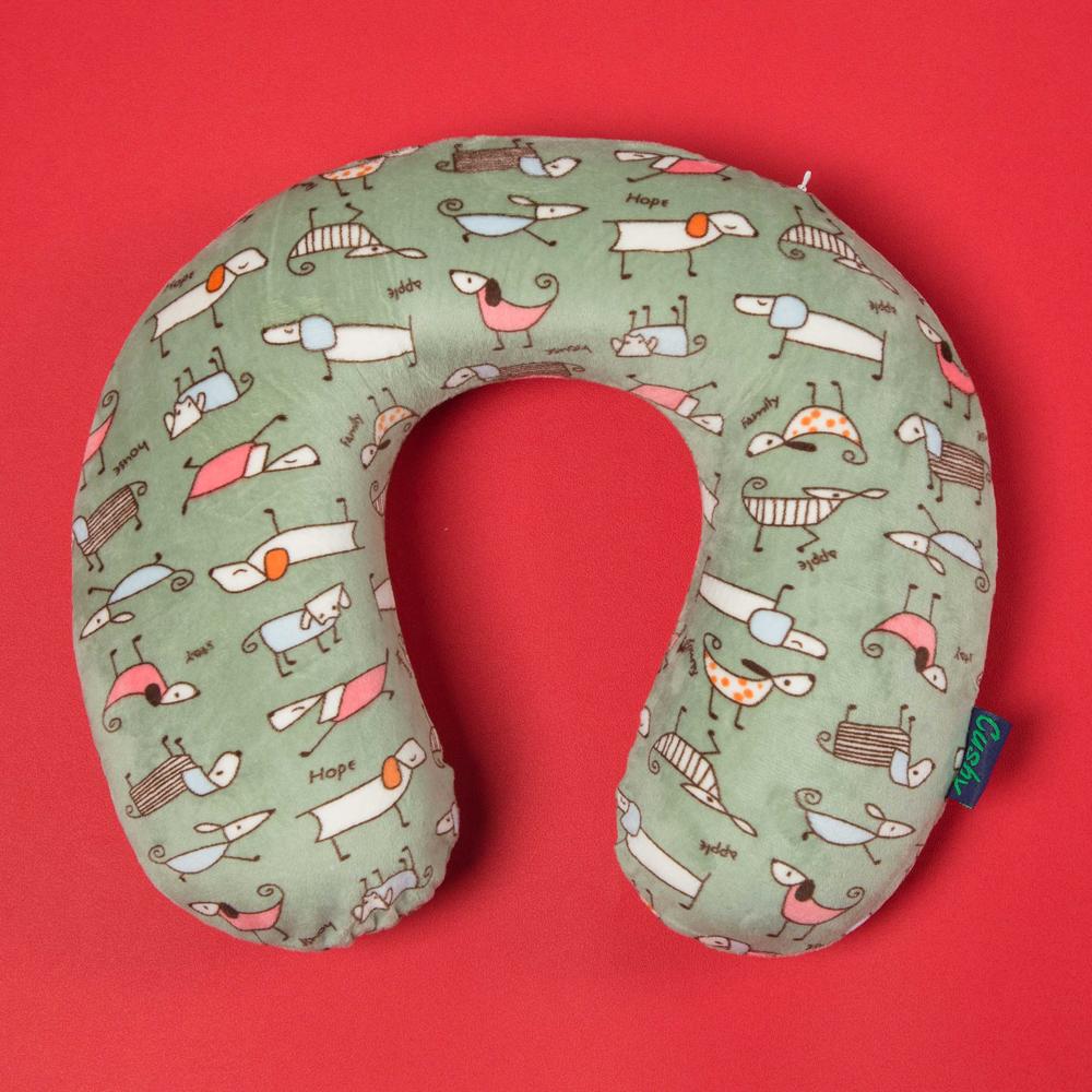 條紋U型枕  (乳膠記憶枕 / 可拆洗 / 舒適絨面)『墨綠』1515004 午睡枕