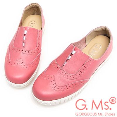 G.Ms. MIT系列-馬卡龍色系牛津免綁帶牛皮白底休閒鞋-粉紅色