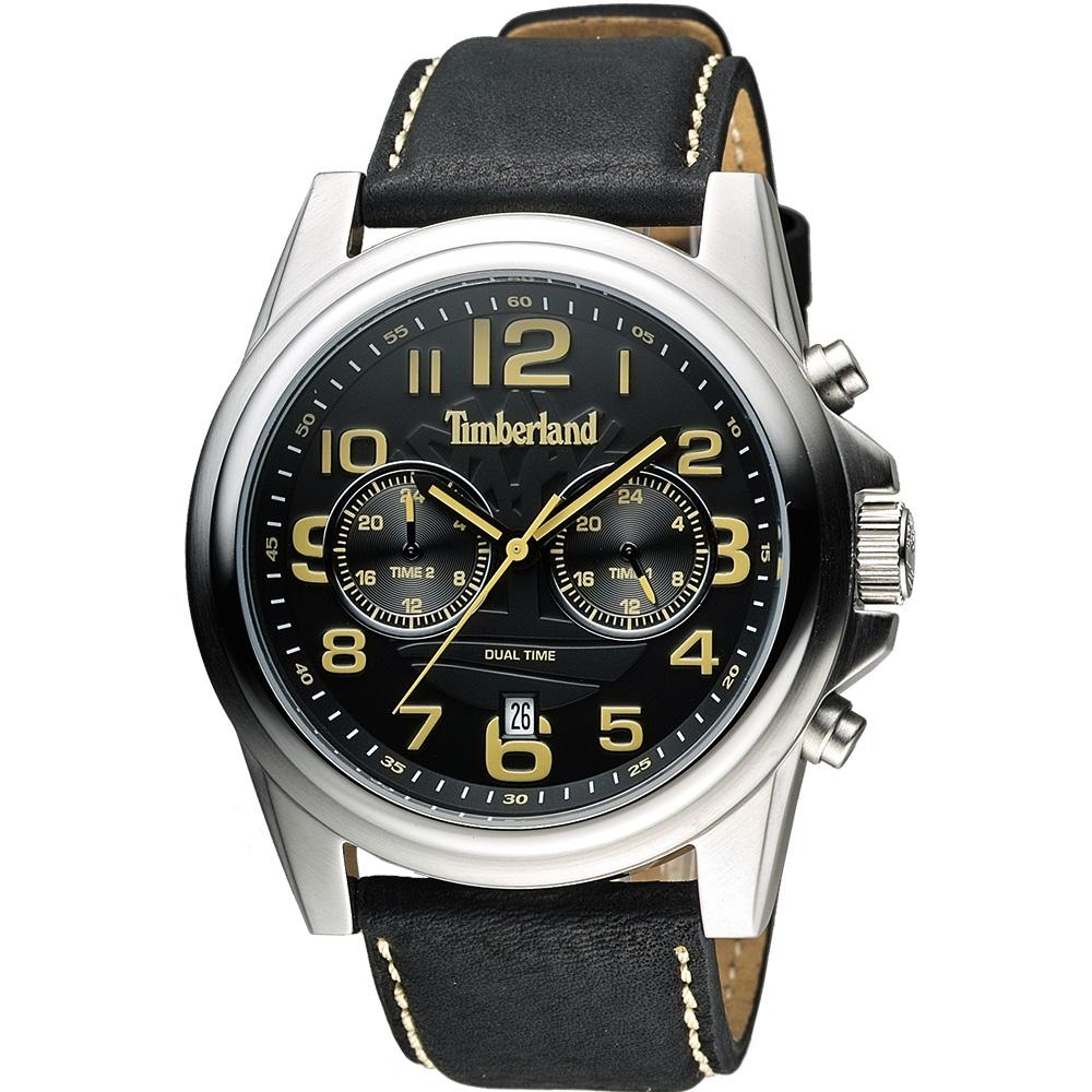 Timberland 雙時區顯示腕錶腕錶-黑/46mm