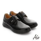 A.S.O 輕旅健步 縫線牛皮魔鬼氈紳士皮鞋 黑色