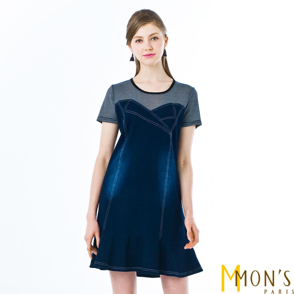 MONS條紋拼接仿牛仔洋裝