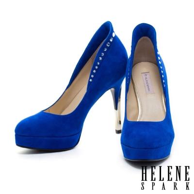 高跟鞋-HELENE-SPARK-時尚晶鑽羊麂皮高跟鞋-藍
