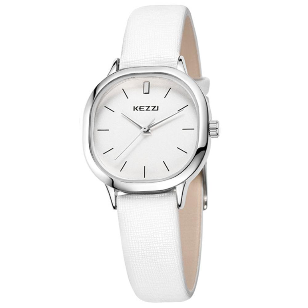 Kezzi-1125日式極簡方形情侶手錶-白色x女30x30mm