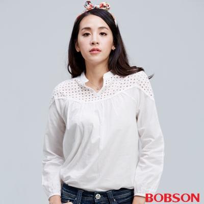 BOBSON  女款平織布鬆版米白上衣