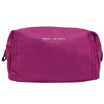 MARC JACOBS 金屬LOGO尼龍拉鍊化妝包-野莓紫紅
