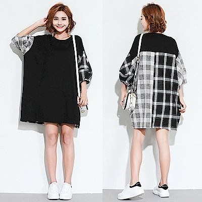 黑灰格紋拼接休閒寬鬆上衣洋裝-F-Keer