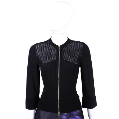 MOSCHINO 黑色簍空織紋拼接設計拉鍊外套