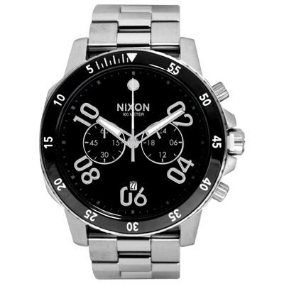 NIXON RANGER CHRONO集英捍衛雙眼計時腕錶-黑X銀/45mm