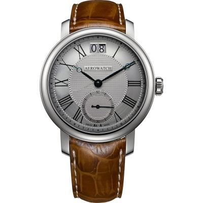 AEROWATCH Renaissance 大日期視窗腕錶-銀x咖啡色錶帶/43mm