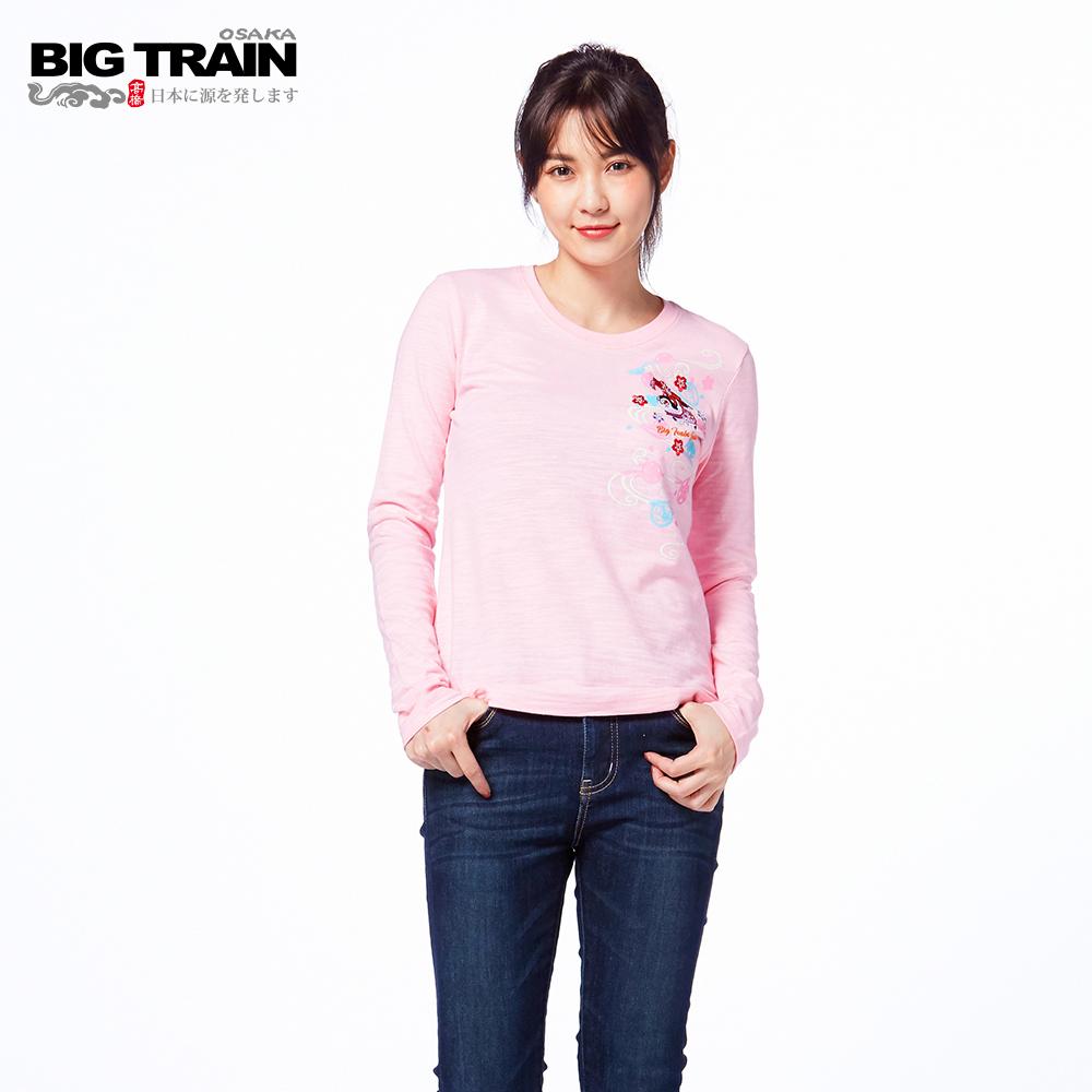 BIG TRAIN 福犬櫻花長袖-女-粉紅