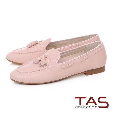 TAS 穿繩流蘇立體縫線樂福鞋-甜美粉