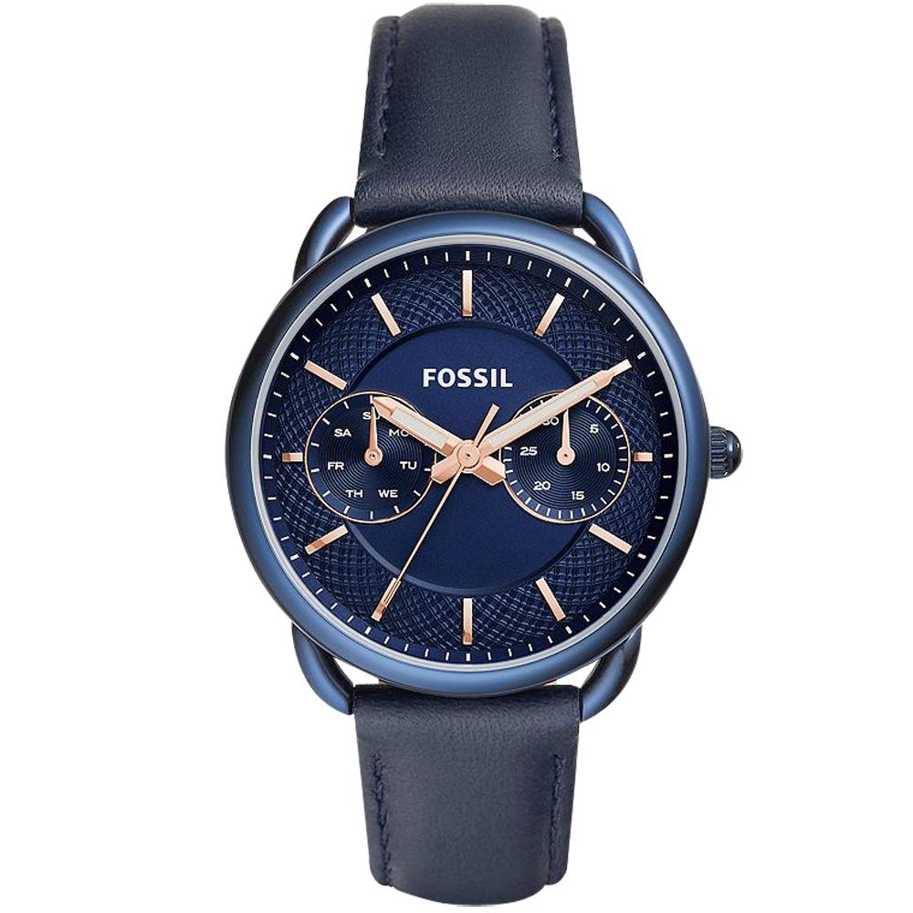 FOSSIL Tailor 優雅時代日曆女錶-藍/34mm